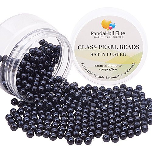 PandaHall Elite About 400 Pcs 6mm Tiny Satin Luster Glass Pearl Bead Round Loose Spacer Beads for Jewelry Making Black ()