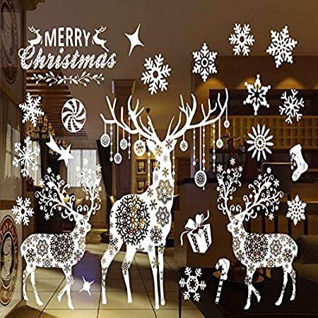 Christmas Decoration Window Stickers, Christmas Deer Snowflake Print Detachable Door Stickers Wallpaper Stickers Ocean