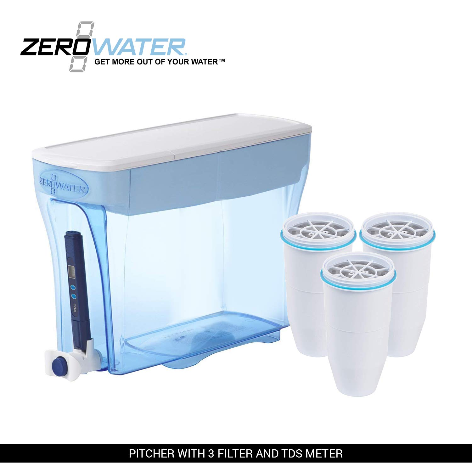ZeroWater 23-Cup Pitcher with 3 Filters and Water Quality Meter
