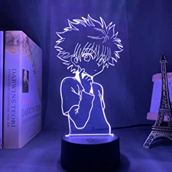 Killua Zoldyck, 3D Night Light, 16 Colors 7 Colors/remote Touch Eye Protection Night Light, USB Sleep Decoration Light, Children/Christmas/birthday/gift (Color : White, Size : Remote control)