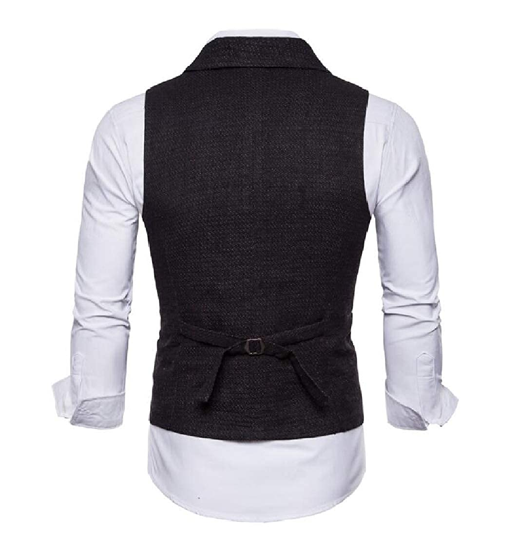 Sweatwater Mens Business Notch Lapel Fit Single Breasted Vest