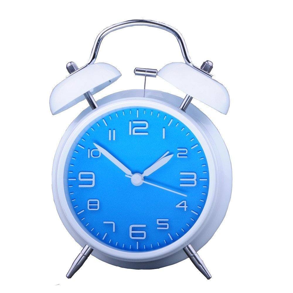 Konigswerk 4'' Non-ticking Quartz Analog Retro Vintage Bedside Twin Bell Alarm Clock With Loud Alarm and Nightlight AC057G(Blue)
