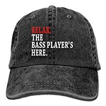 Arsmt Relax The Bass Player's Here Denim Hat Adjustable Womens Low Baseball Hats