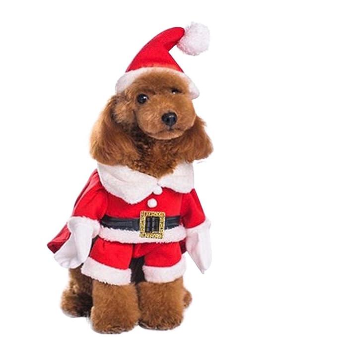 Fossrn Disfraz Navidad Perro Pequeño Santa Claus Navidad Ropa para Mascotas Chihuahua Yorkshire: Amazon.es: Ropa y accesorios