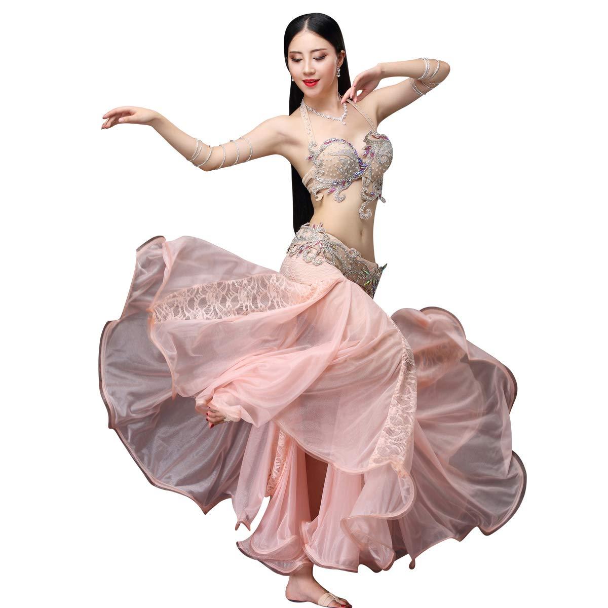 豪華なベリーダンス衣装セット 3点セットビーズ刺繍プロ仕様ダンス服 高級演出服 ブラ スカート ピンク Large
