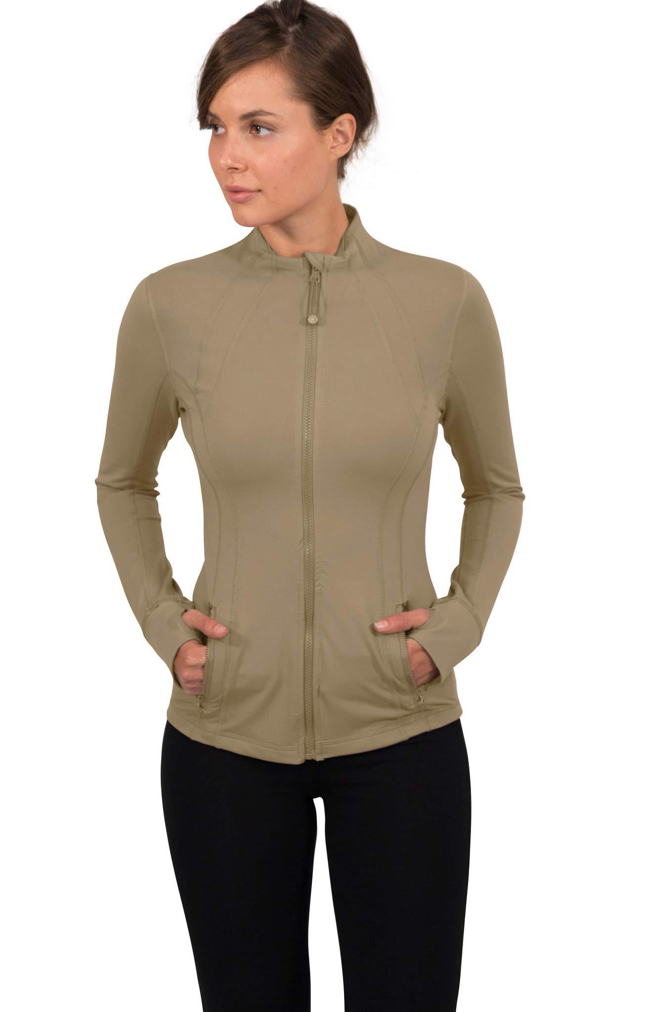 90 Degree By Reflex Women's Lightweight, Full Zip Running Track Jacket - Camel - Small