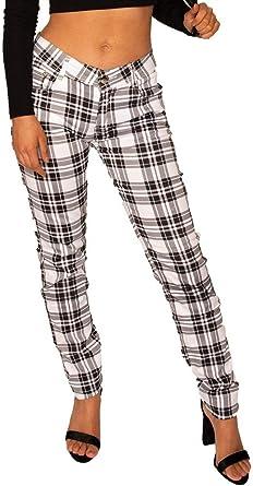 Pantalones Cuadros Estilo Slim Skinny Para Mujer Pantalon De Tartan Pitillo Negro Y Blanco 36 Amazon Es Ropa Y Accesorios
