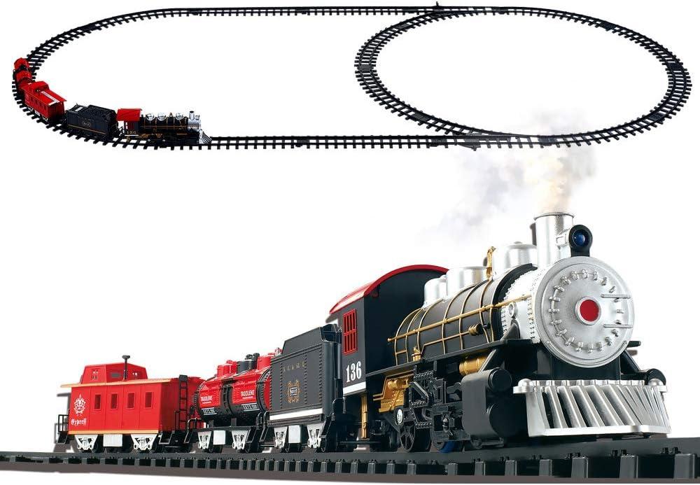 CX TECH Juego de Tren de Carga Juguete de Tren de Humo eléctrico Juguete de Tren de Vapor para niños con Sonido Realista y luz de Cabeza para niños Niñas