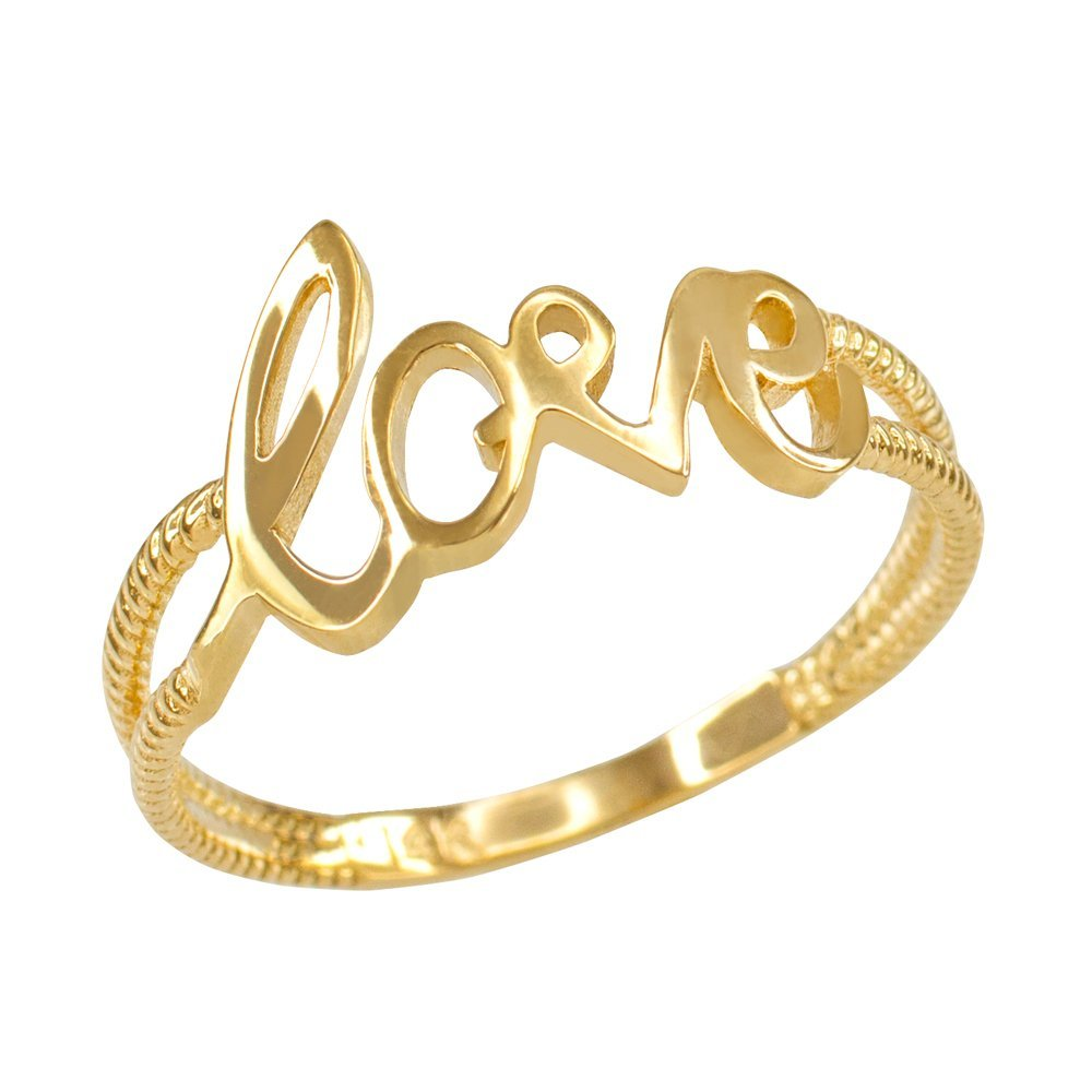 Fine 10k Yellow Gold Polished Rope Band Love Script Ring (Size 10) by Modern Contemporary Rings (Image #1)