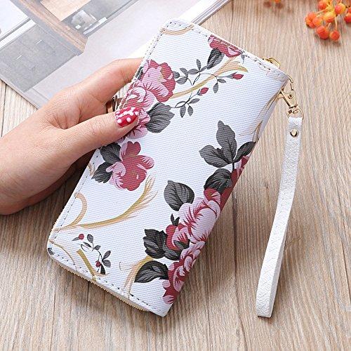 MaxFox Women Fashion Single Pull Rose Long Wallet Zipper Coin Purse Phone Bag Divider Organizer Storage Clutches (A) by MaxFox (Image #1)