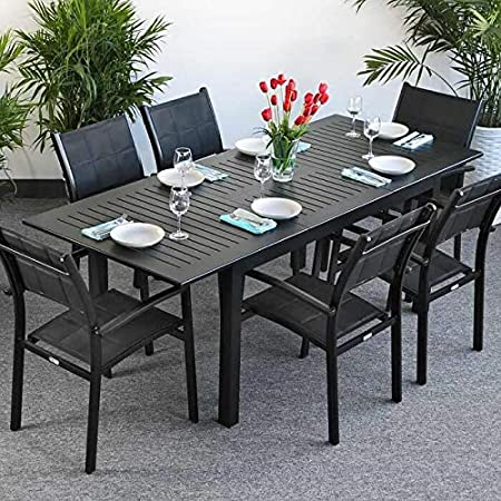 Sofa Back Wall Design, Lazy Susan Lottie 150 Cm 210 Cm Rectangular 6 Seater Patio Table Strong Glass Table Top Cast Aluminium Frame Lightweight Simple Extendable Design Modern Black Finish Matching Abigail Chairs Amazon Co Uk Garden
