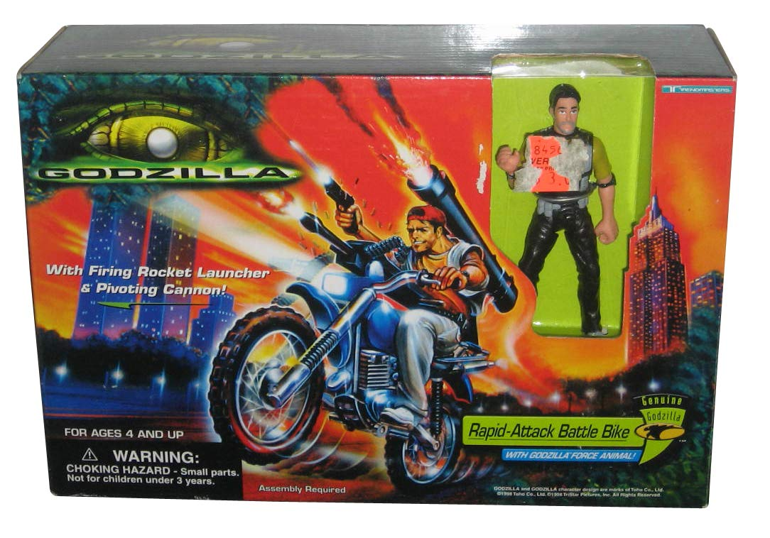 Trendmasters Godzilla Rapid Attack Battle Bike (1998) Figure Toy Playset