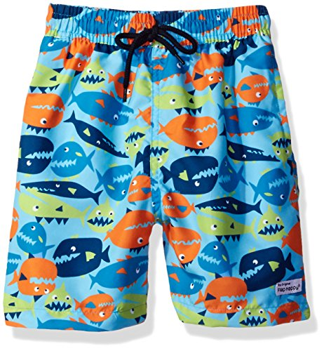 Flap Happy Little Boys' Upf 50 Swim Trunk with Mesh Liner, Fish Frenzy, 4