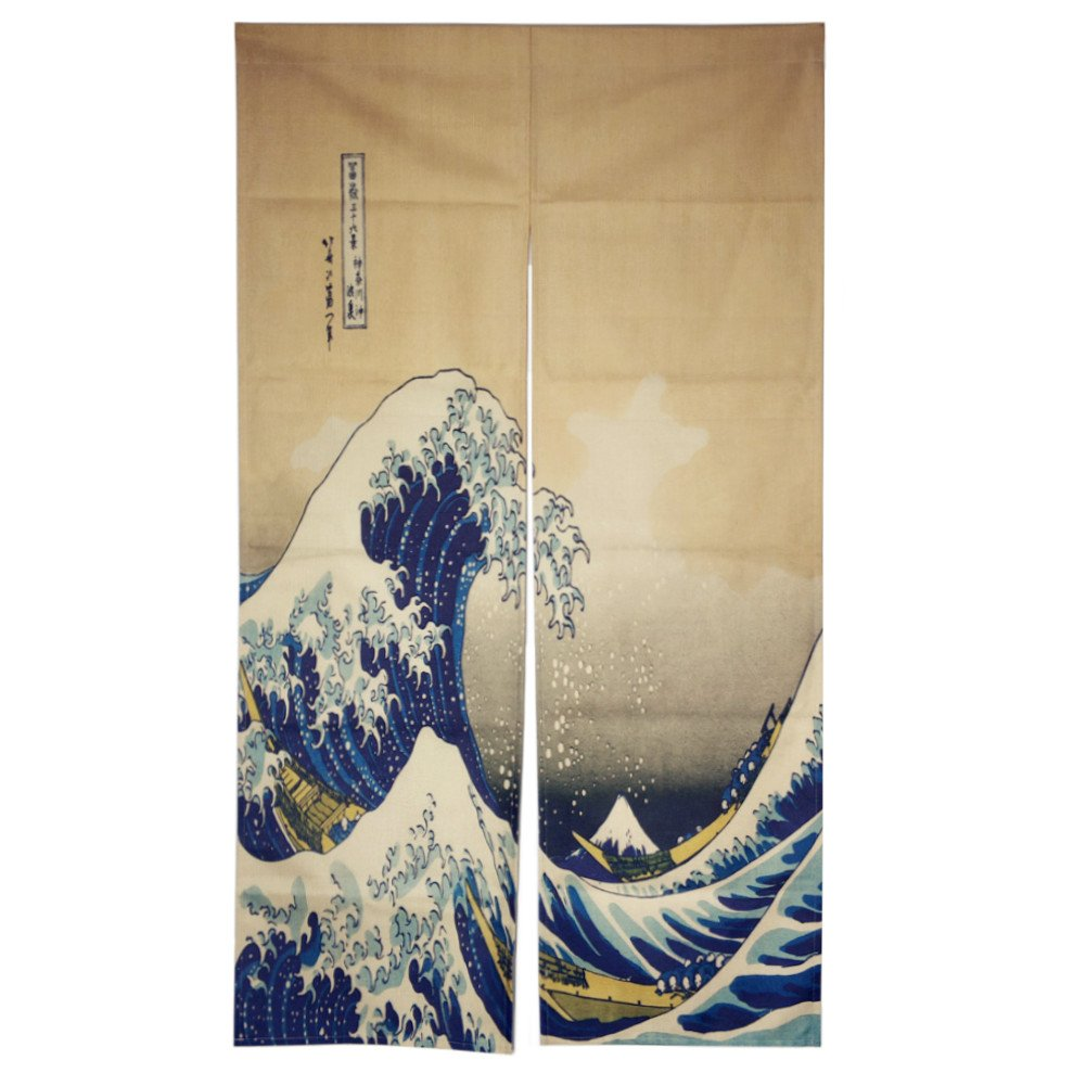 DIPPERION Doorway Curtain Tapestry Japanese Noren Curtain Tapestry Ukiyoe The Great Wave off Kanagawa Door Way Curtain Door Hanging tapestry