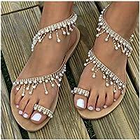 Womens Summer Bohemia Flat Sandals Beads Pearl Beach Clip Toe Flip Flops Flat Bottom Sandals Shoes