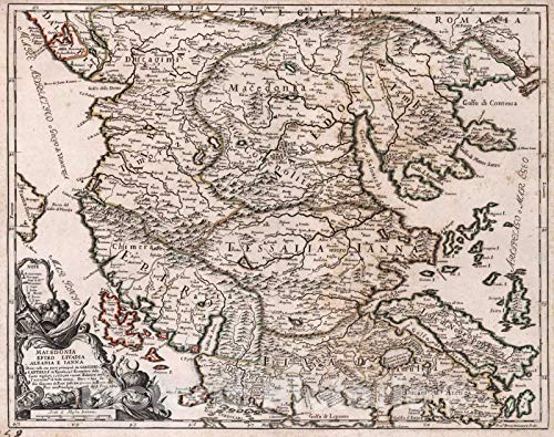 Historic Map | World Atlas Map, Macedonia Epiro Livadia Albania e Ianna 1684 | Vintage Wall Art | 56in x ()