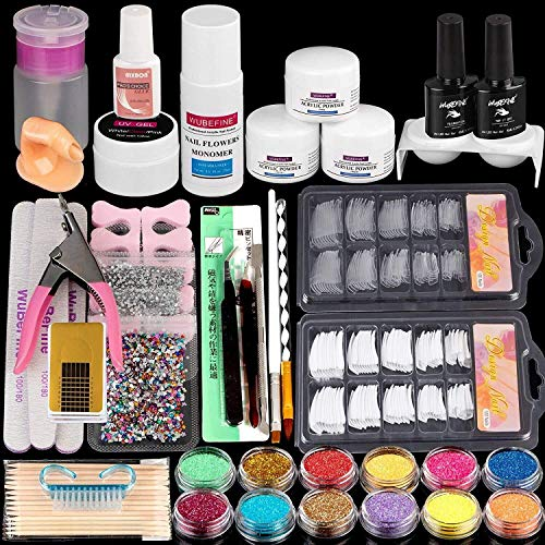 WuBeFine Acrylic Nail Kit, with Acrylic Powder Liquid Monomer Glitter Nail Tips, Acrylic Nail Art Decoration Tools Professional Manicure Set