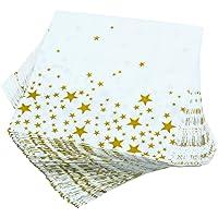 KisSealed Servilletas de 100 piezas Servilletas de cóctel blancas con estrellas doradas para bodas, fiestas, cumpleaños, cenas, almuerzos, servilletas con 2 capas, 5 por 5 pulgadas