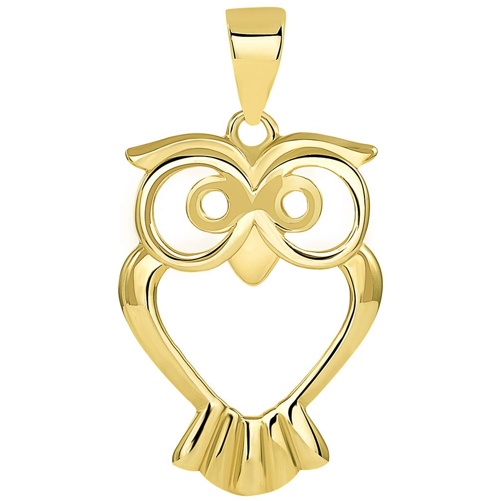 Solid 14K Yellow Gold Open Big Eyes Owl Animal Pendant
