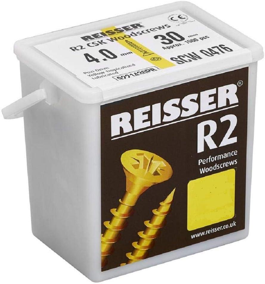 Reisser 922160100PB R2 Pozi-Tornillo para Madera amarillo 185 Piezas, con 2 Puntas de PZD, 6 mm de di/ámetro x 100 mm de Longitud