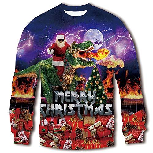 RAISEVERN Unisex Tyrannosaurus Rex Ugly Sweatshirt Merry Christmas