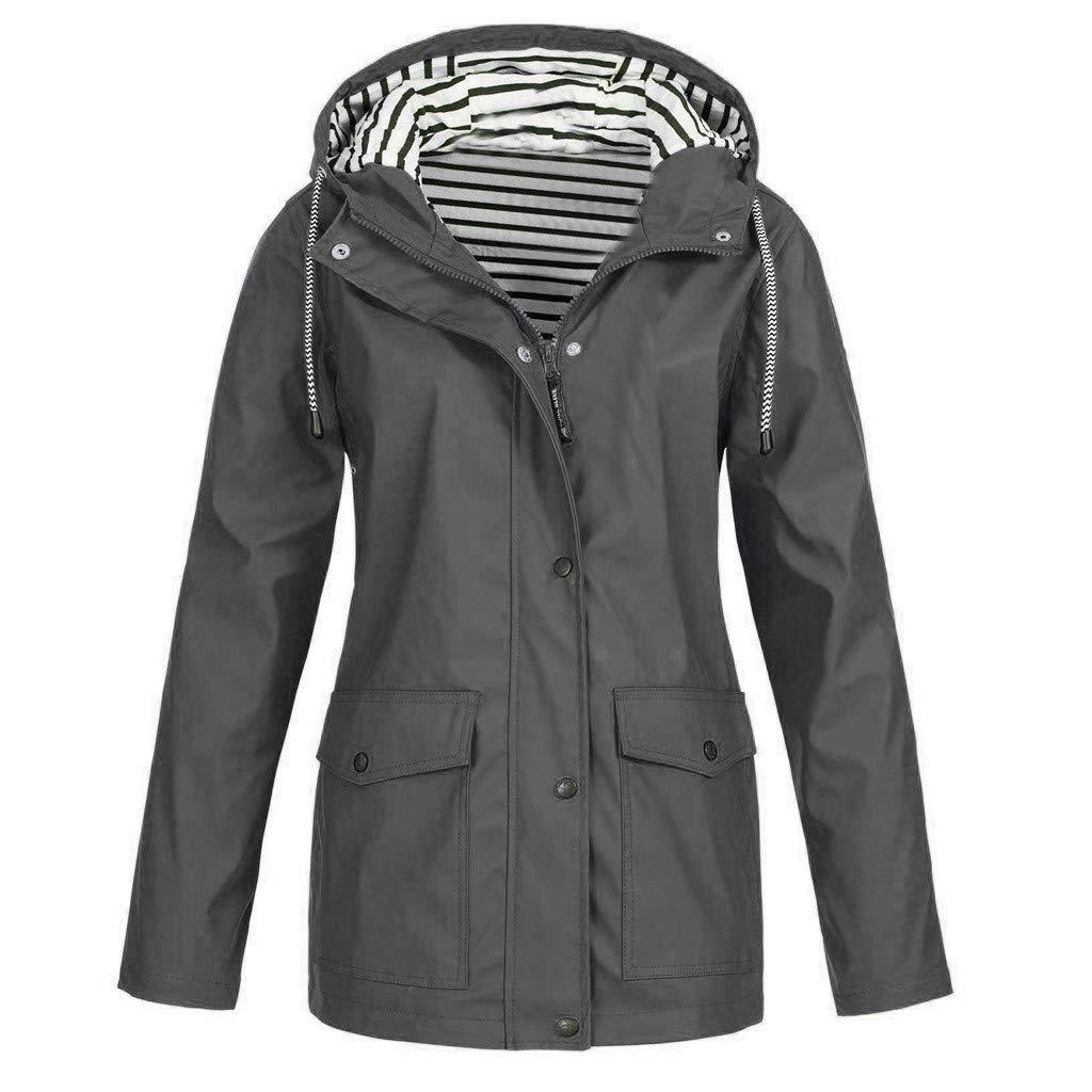 Toaimy Women Solid Rain Jacket Outdoor Plus Waterproof Hooded Raincoat Windproof