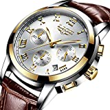 Mens Watches Fashion Sports Analog Quartz Watch Men Brown Leather Waterproof Watches Luxury Brand LIGE Casual Date Chronograph Wrist Watch