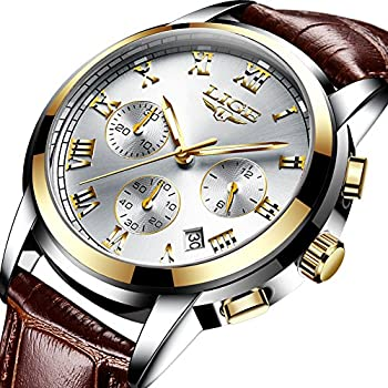 Mens Watches Fashion Sports Analog Quartz Watch Men Brown Leather Waterproof Watches Luxury Brand LIGE Casual Date Chronograph Wrist Watch