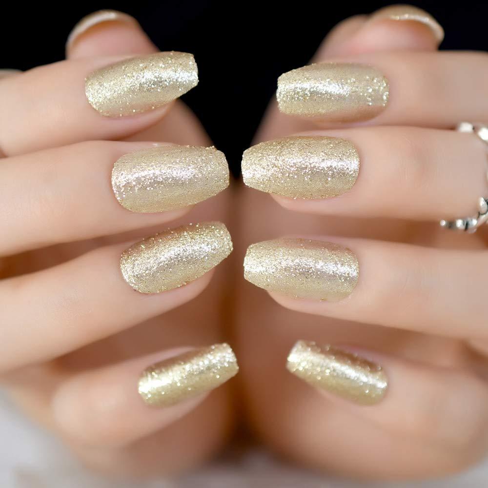 Amazon.com : Shimmer Glitter Pre-Designed Nail Tips Medium Full Wrap ...
