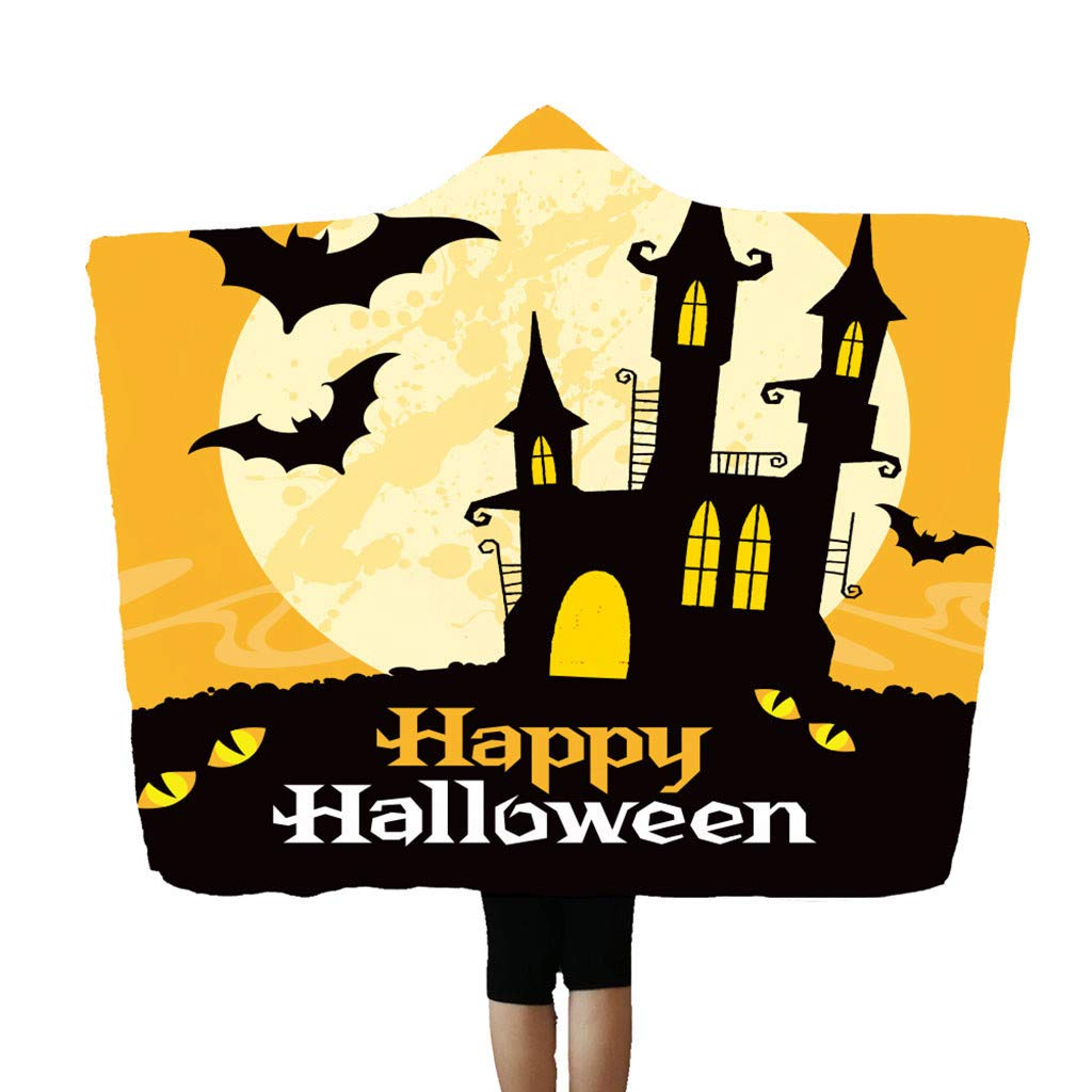 Flannel Blanket Soft Halloween Hooded Blanket 3D Funny Black Cat and Pumpkin Printed Wearable Blanket Soft Wrap Throw Blanket Lightweight Bathrobe One Size Fits All Halloween-r, 150x200cm/59''x78.7'' by charmsamx