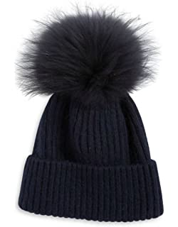 56a30b7126528 Linda Richards Luxury Ribbed Knit Genuine Fur Pom Pom Hat - Black Fox Pom  Pom.