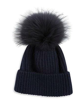 cc2a31d865e16 Linda Richards Luxury Ribbed Knit Genuine Fur Pom Pom Hat - Black Fox Pom  Pom. at Amazon Women s Clothing store
