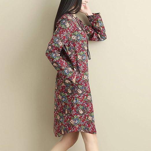 YUAFOAE Vestidos Largos De Mujer Casuales, Moda O-Cuello Floreada Diario Elegantes Casual Cómodo Suelto Faldas: Amazon.es: Ropa y accesorios
