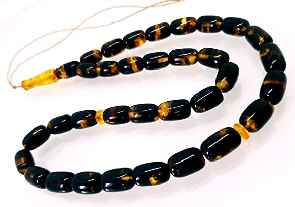 Tasbih Muslim Islamic Rosary 33 Round Prayer Beads by Baltic Amber Handmade//Genuine Yellow//Misbaha 13 GRAMS//New//Lemon with Inclusions Authenticity Golden Natural Baltic Amber // 8 mm