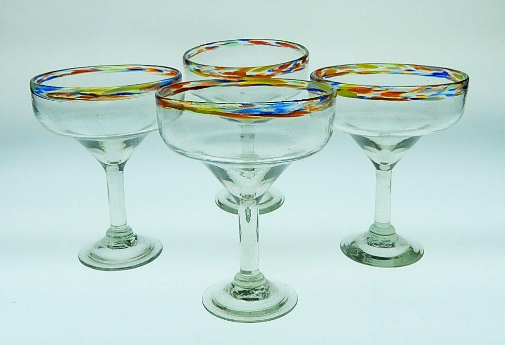Mexican Margarita Glass with Confetti Rim, 15 oz, Set of 4 by Mexican Margarita Glasses