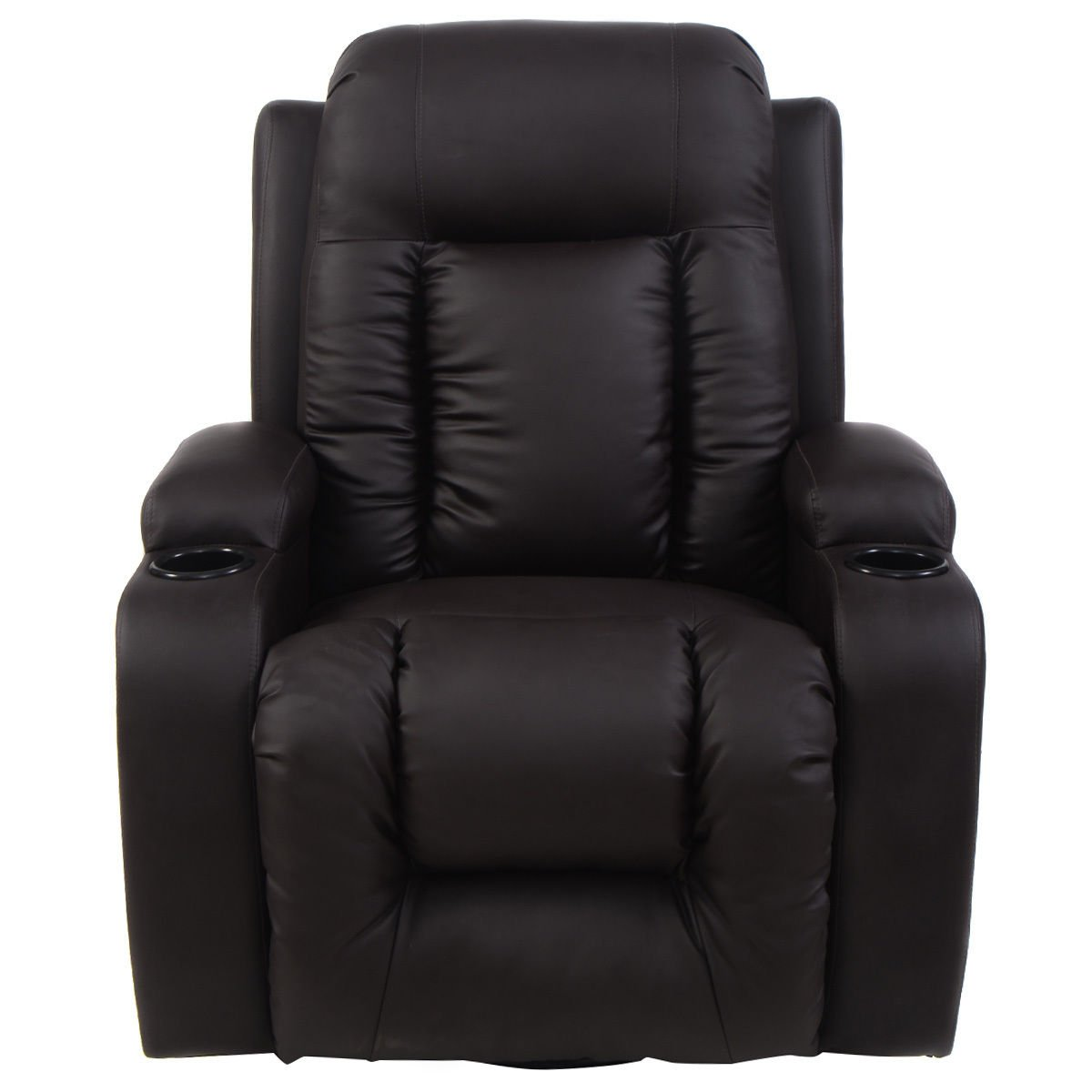 Tangkula PU Leather Massage Chair Home Office Recliner Heated Deluxe Ergonomic Lounge Sofa Chair w Control Brown