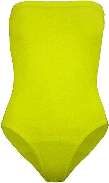 Body elasticizzato alla moda da donna con scollo bardot spalle scoperte e volant Top taglia 40-46