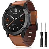 Songsier Leather Band Compatible with Fenix 6X/5X Plus Band, Premium Leather 26mm Quick Fit Watch Strap Replacement for…
