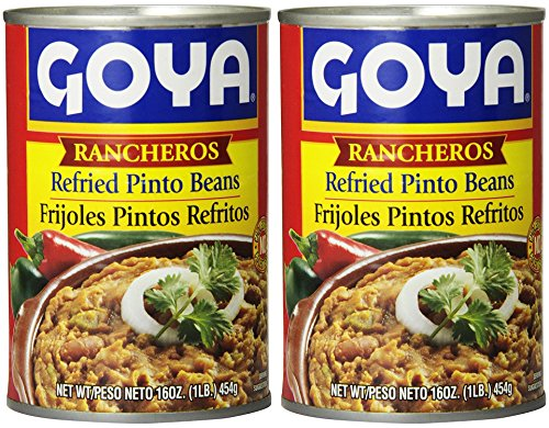 Goya Refried Beans - Goya Ranchero Refried Pinto Beans 16oz | Frijoles Pintos Refritos 454g (PACK OF 02)