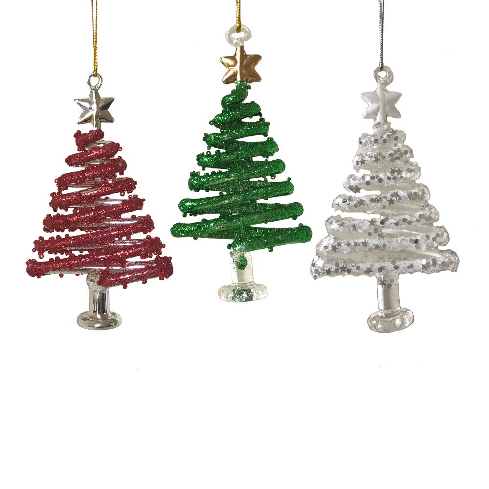 Christmas Tree Ornament Sets.Christmas Tree Ornaments Set Of 3 Red White And Green Hanging Swirly Trees Glittery Whimsical Ornaments