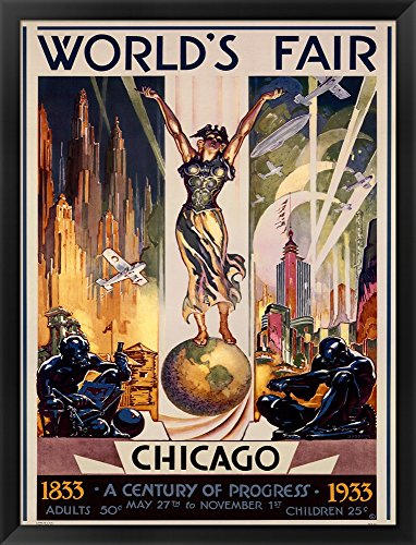 Chicago World's Fair 1933 by Glen C. Sheffer Framed Art Print Wall Picture, Black Frame with Hanging Cleat, 25 x 33 (Chicago Worlds Fair Framed Art)