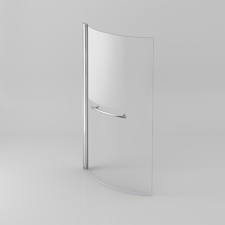 Modern P Shape Curved Glass Shower Bath Screen Pivot Hinged with Knob Bathroom