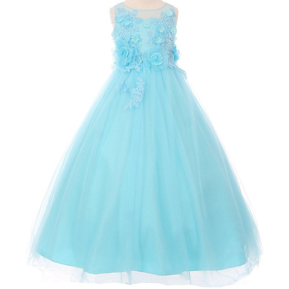 Big Girls Illusion Sleeveless Raised Flowers Embellishment Lace Floor Length A-Line Dress Aqua - Size 14