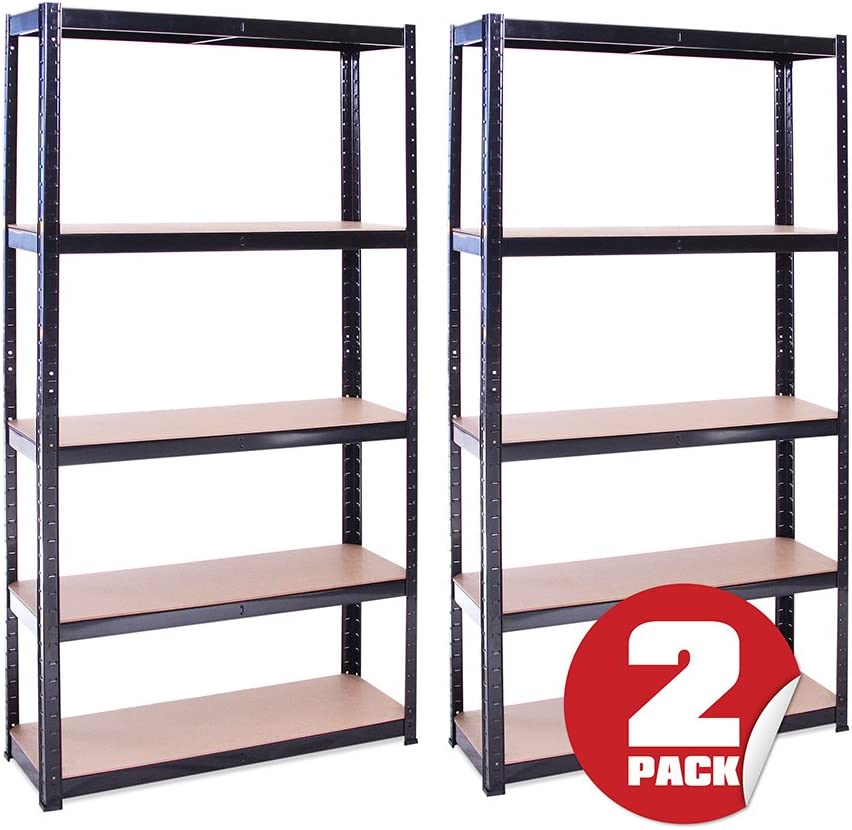 G-Rack Estantería de Almacenamiento para Garaje 2 Piezas 5 Estantes, Negro, 180 x 90 x 30 cm