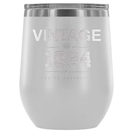 1934 84th Birthday Gifts For Women And Men 12 Oz Wine Tumbler Cup