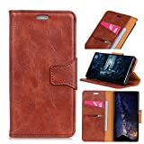 Scheam Flip Wallet Case Compatible with iPhone 7 Plus iPhone 8 Plus Daily Shock Protection with Card Slots Lightweight Protection and Adjustable Stand Brown