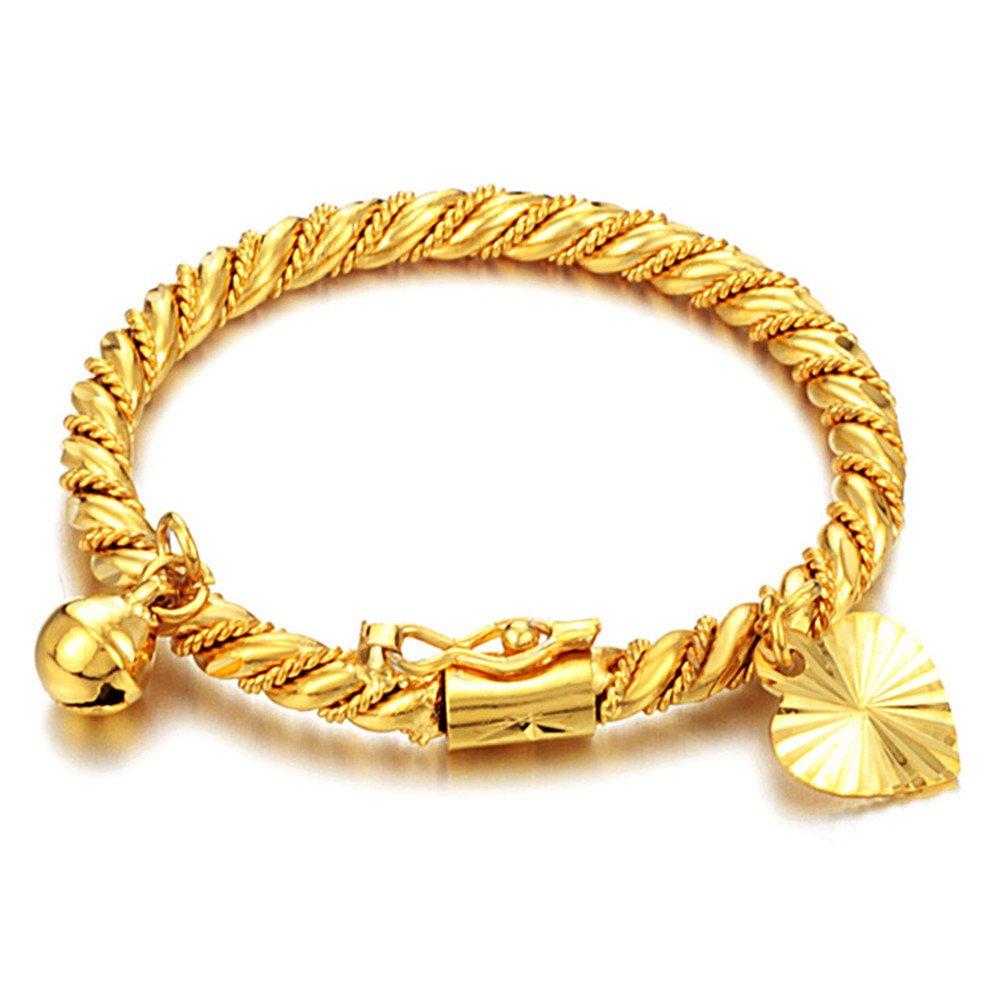 Park New Children Jewelry 18k Gold Plated Cuff Bracelet Heart Bell Charm Pendant Bangle marwar
