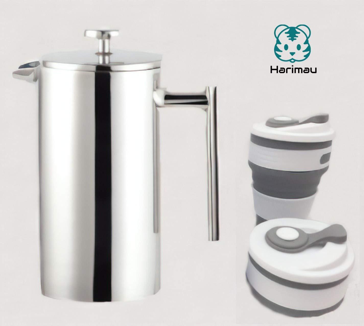 Acquisto Harimau – Caffettiera francese da 1000 ml, in acciaio INOX e tazza pieghevole Grey Prezzi offerta
