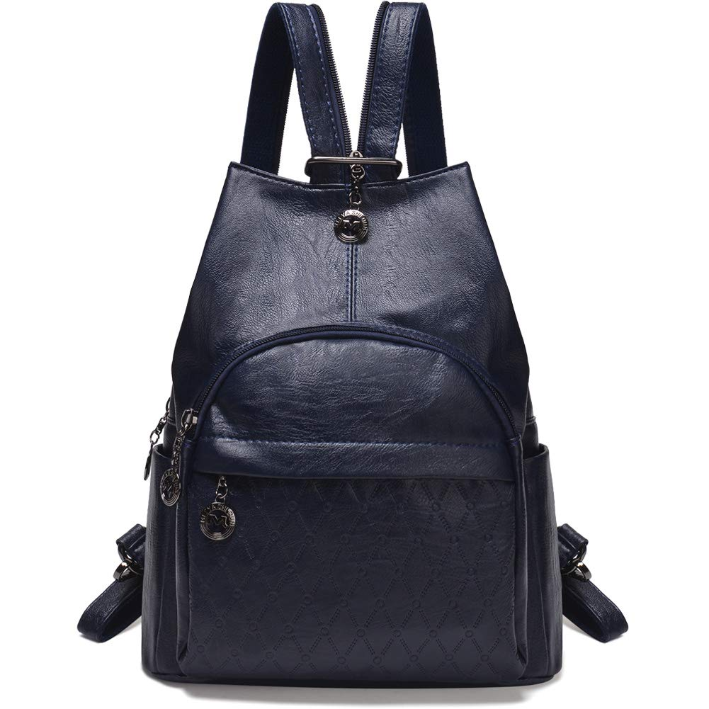 Small Leather Convertible Backpack Sling Purse Shoulder Bag for Women (Blue)