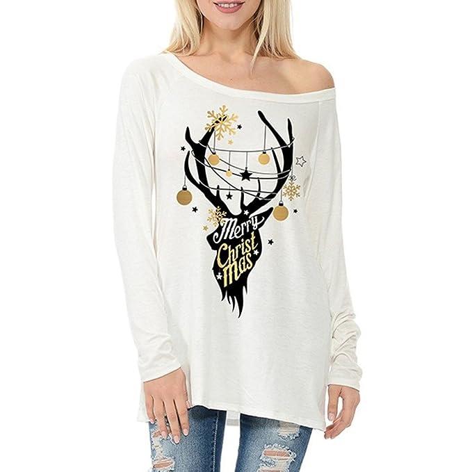 OverDose camisas mujer de navidad blusa manga larga impresión de renos de Navidad